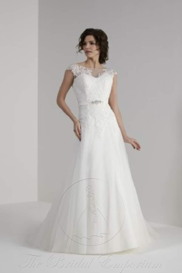 Illusion and lace detail with slim tulle skirt, wedding dress.