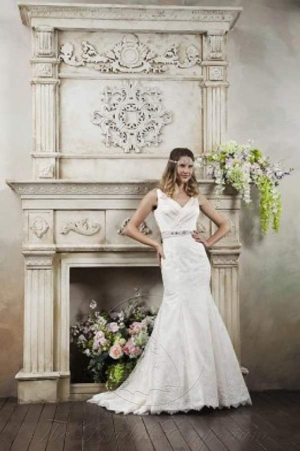 Fit and Flare satin Wedding Dress, Lace overlay Skirt