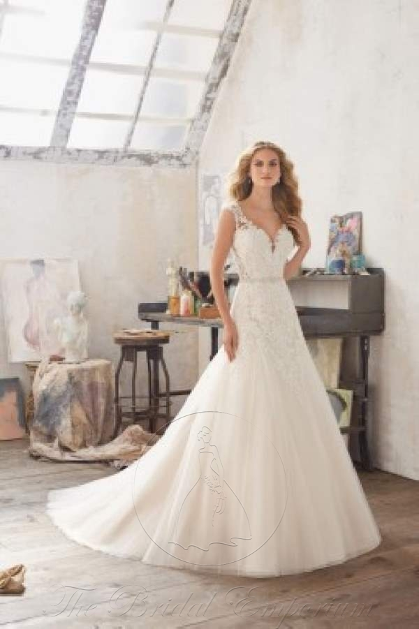 Ball gown, crystal beaded lace on tulle, Wedding Dress