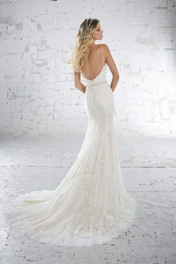 Fitted lace wedding dress, Mori Lee